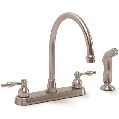Wellington 2-Handle Standard Kitchen Faucet with Side Sprayer in Brushed Nickel