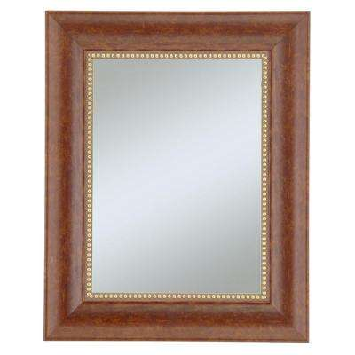30 in. x 36 in. Lorrain Cherry with Gold Beads Wall Mirror