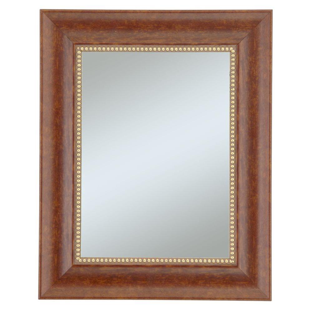 Alpine Art & Mirror 30 in. x 36 in. Lorrain Cherry with Gold Beads Wall Mirror