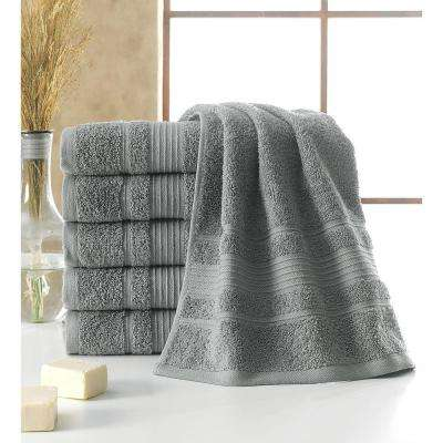 Solomon Collection 16 in. W x 30 in. H 100% Turkish Cotton Bordered Design Luxury Hand Towel in Grey (Set of 6)