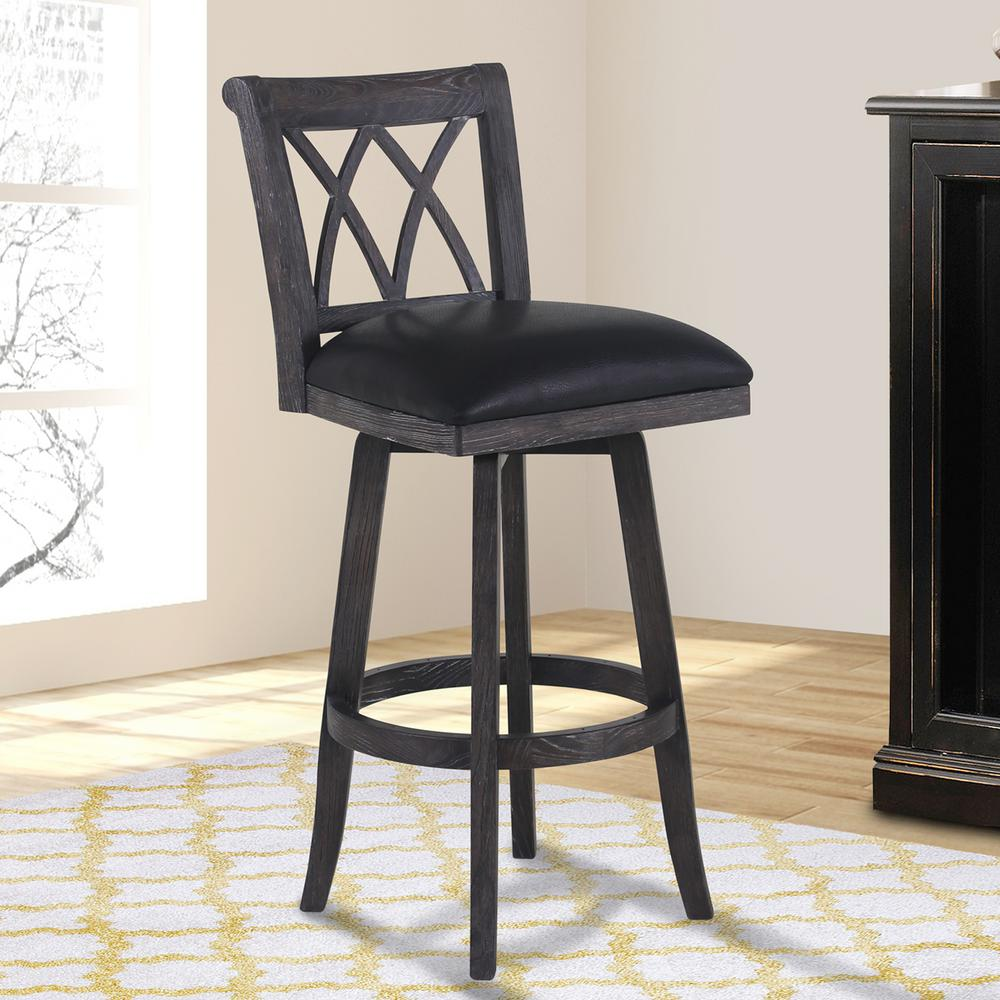 Armen Living Sonoma 30 In Black Faux Leather And Brushed