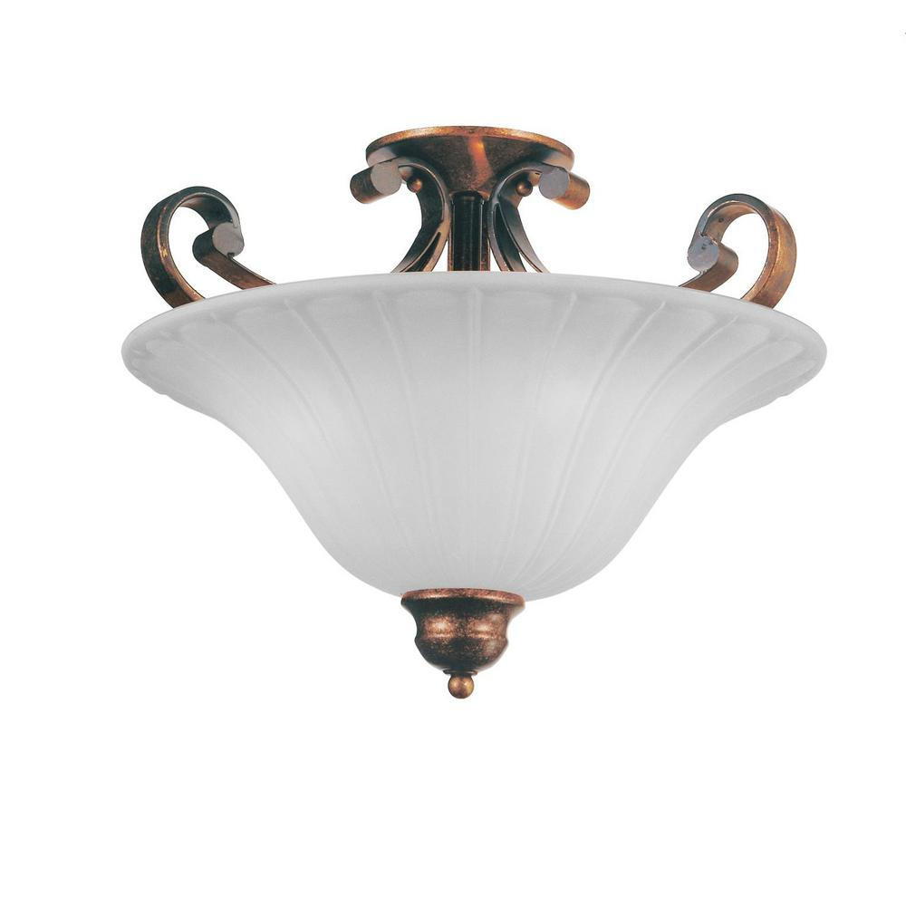 purchase cheap 32bc1 dad54 Crystal World Victorian 3-Light Antique Gold Semi-Flush Mount