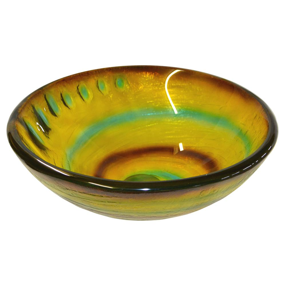 Candy Swirls Glass Vessel Sink in Multi Colors with Pop-Up Drain