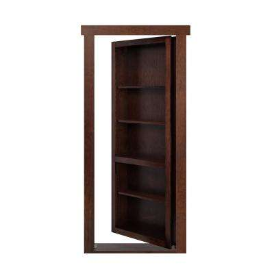 28 in. x 80 in. Flush Mount Assembled Maple Dark Brown Stained Left-Hand Outswing Solid Core Interior Bookcase Door