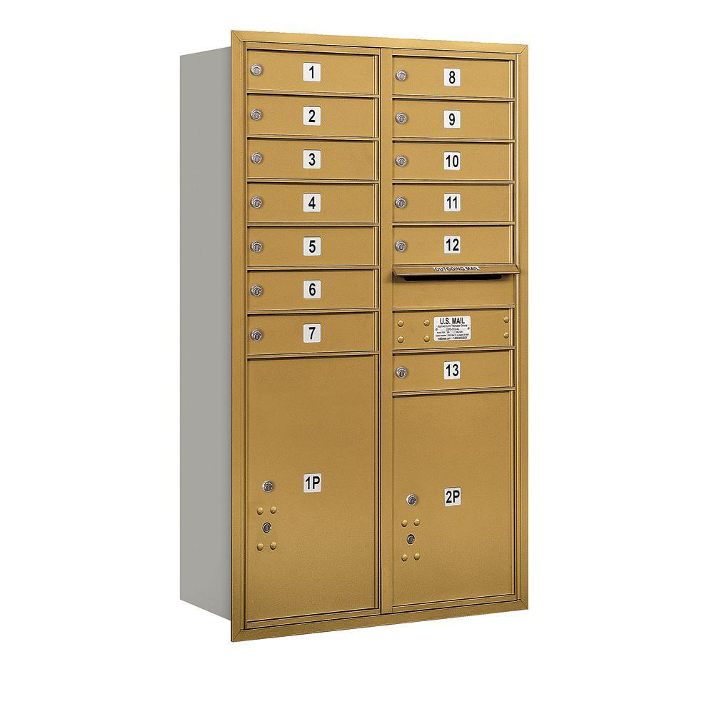 Salsbury Industries 48 in. H x 31-1/8 in. W Gold Rear Loading 4C Horizontal Mailbox with 13 MB1 Doors/1 PL5/1 PL6