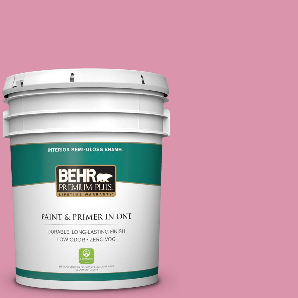 BEHR Premium Plus 5-gal. #110B-4 Foxy Pink Zero VOC Semi-Gloss Enamel Interior Paint
