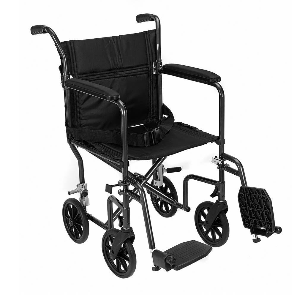 null Revolution Mobility Lightweight Aluminum Transport Chair with 19 in. Wide Seat in Black-DISCONTINUED