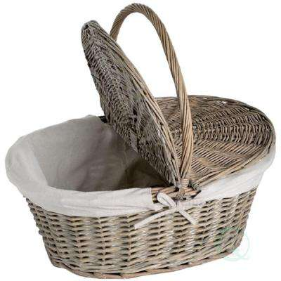 13 in. W x 10.5 in. D x 5 in. H Willow Oval Picnic Basket with Lid
