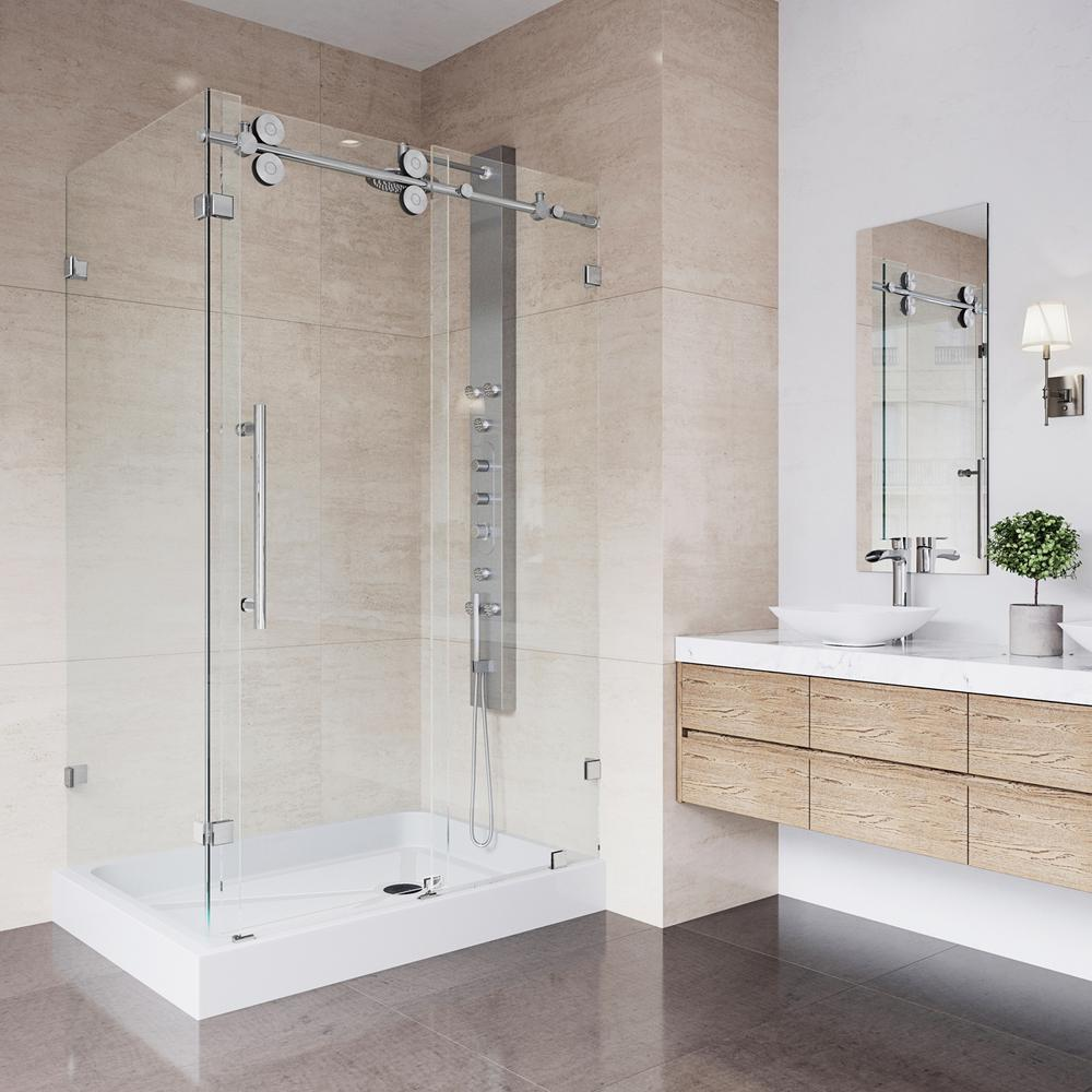 VIGO Winslow 48.125 in. x 79.875 in. Frameless Bypass Shower Enclosure in Chrome with Clear Glass and Right Base