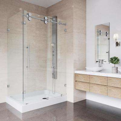 Winslow 48.125 in. x 79.875 in. Frameless Bypass Shower Enclosure in Chrome with Clear Glass and Right Base
