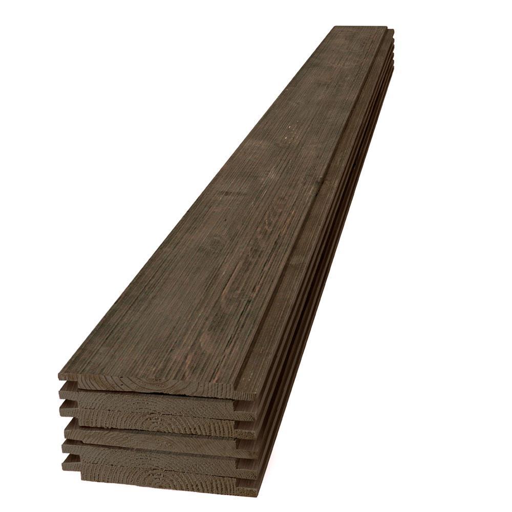 1 in. x 8 in. x 6 ft. Barn Wood Dark Brown Shiplap Pine Board (6-Pack)