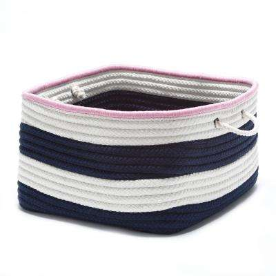 Maritime 18 in. x 18 in. x 12 in. Pink and Navy Stripe Polypropylene Basket