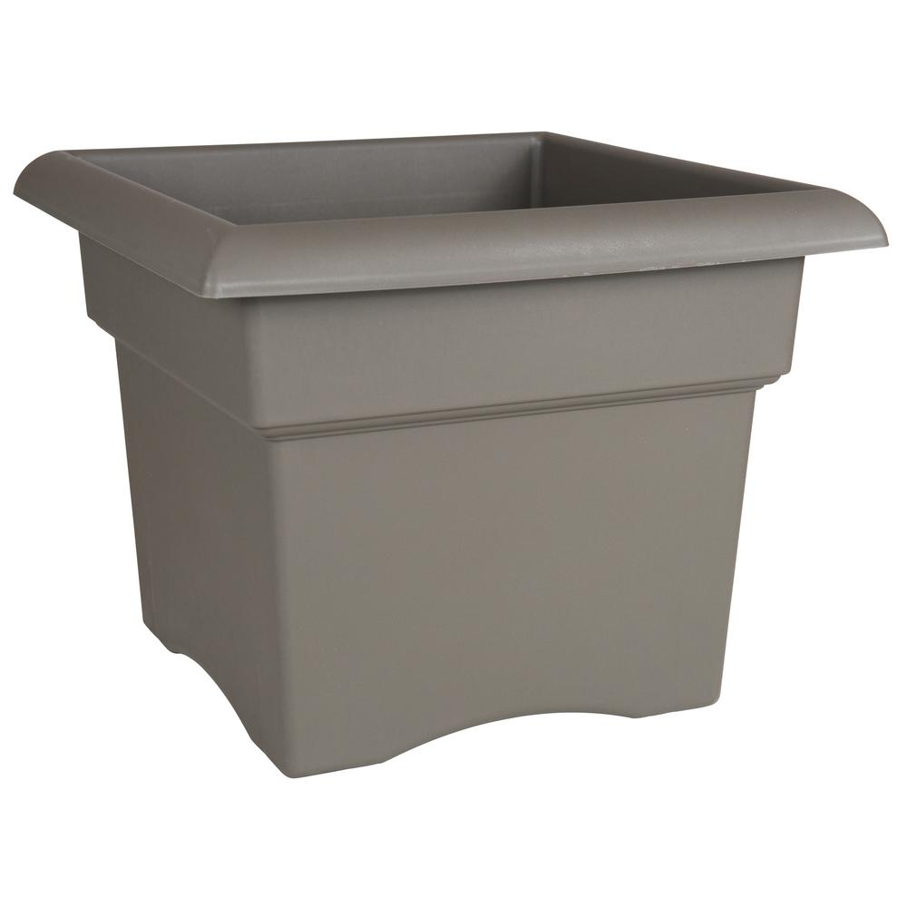 Veranda 18 in. Peppercorn Plastic Deck Box Planter
