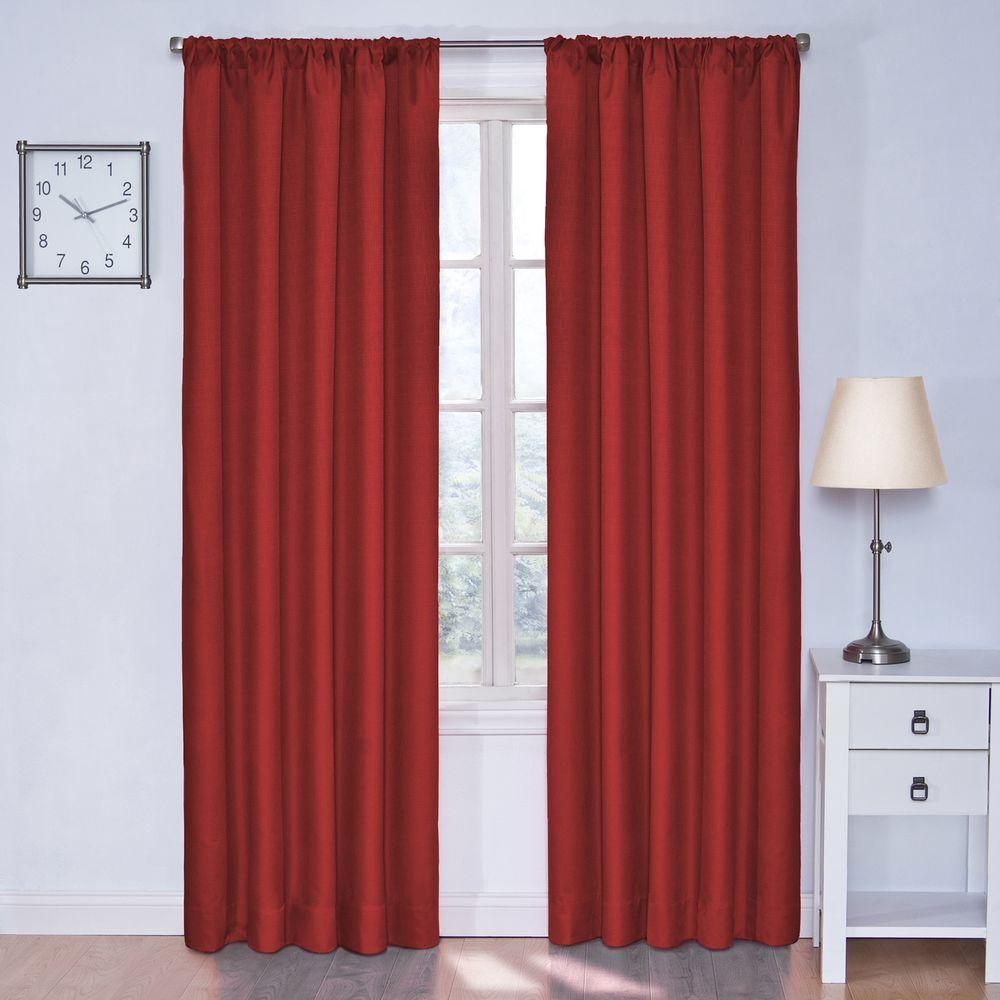 Eclipse Kendall Blackout Chili Curtain Panel, 63 in. Length