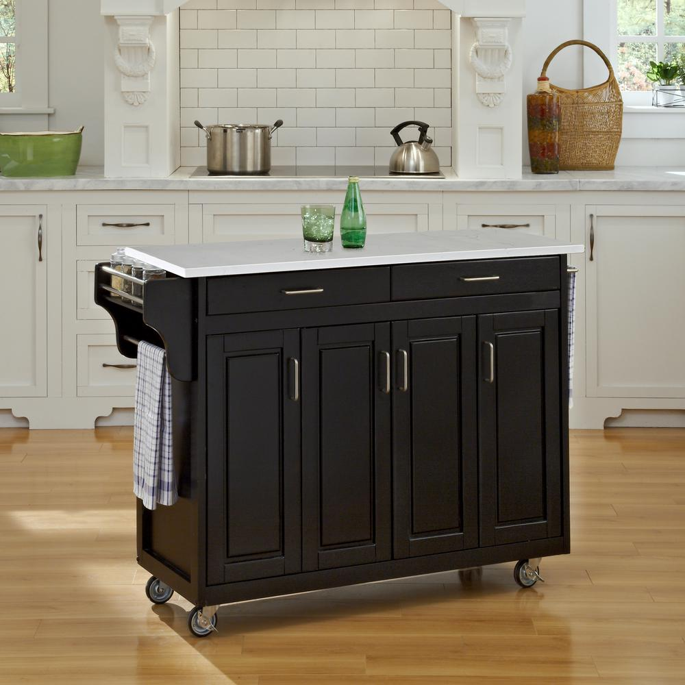 Crosley White Kitchen Cart With Granite Top Kf30003ewh The Home Depot