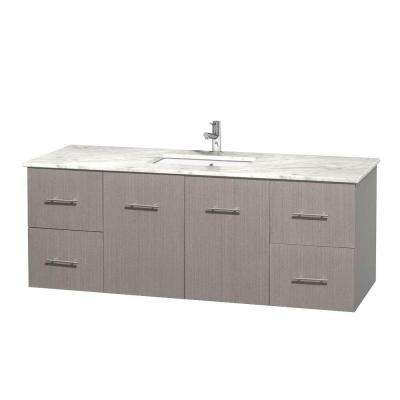 Centra 60 in. Vanity in Gray Oak with Marble Vanity Top in Carrara White and Under-Mount Sink