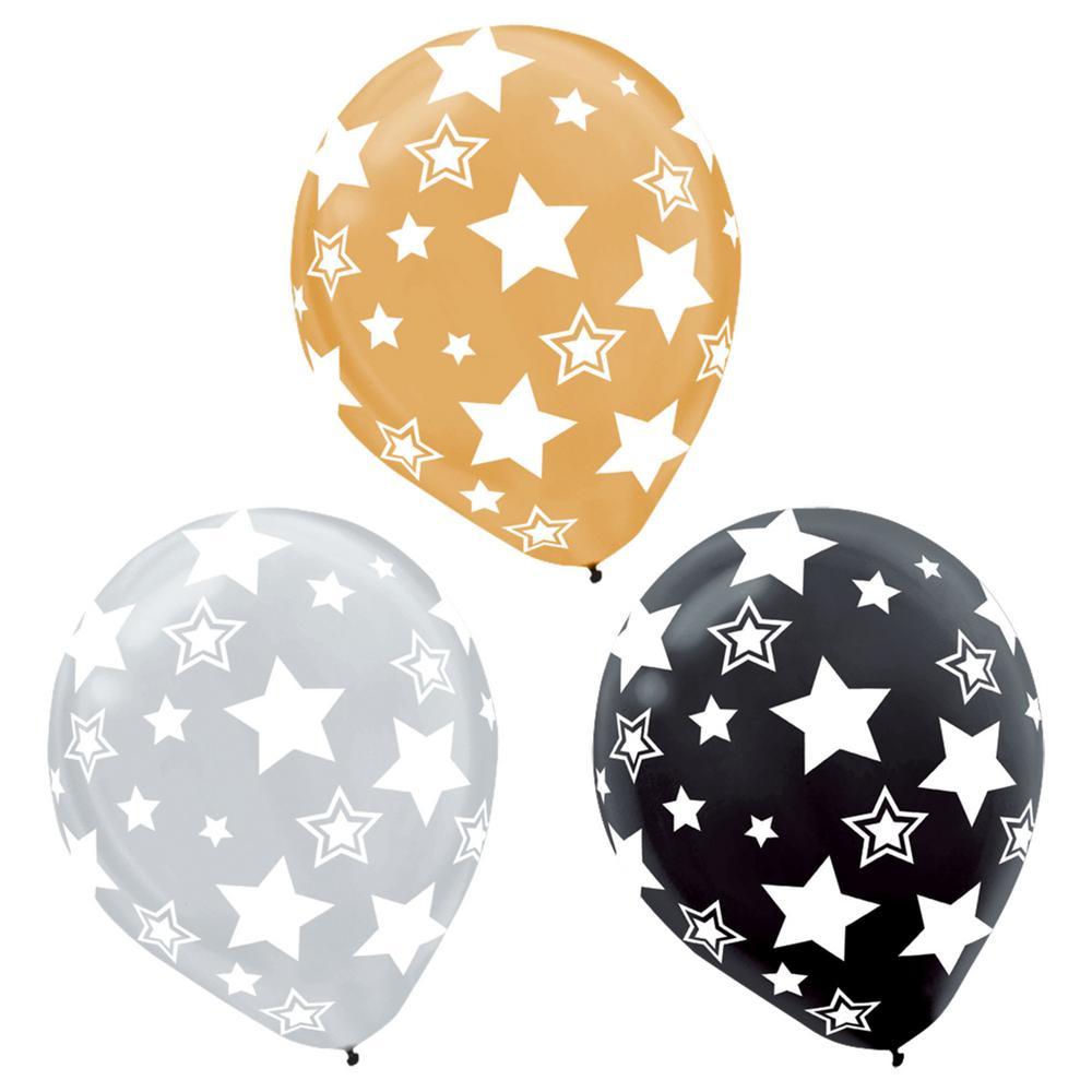 """stars number 25 12/""""  Pink Assortment Latex Balloons pack of 5"""