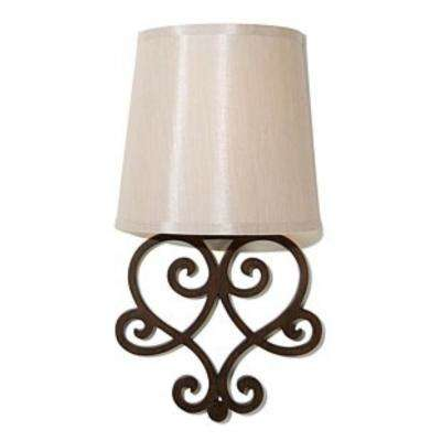 Bronze Heart Wall Scroll Indoor Battery Operated Integrated LED Wall Sconce with Amber Flicker Mode and Tan Fleck Shade