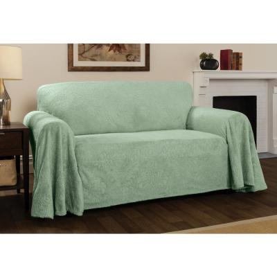 Plush Sage Damask Throw Sofa Slipcover