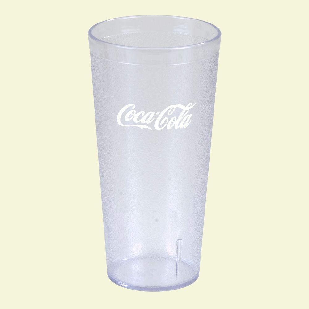 San Plastic Stackable Tumbler In Clear With Coca Cola Logo Imprint