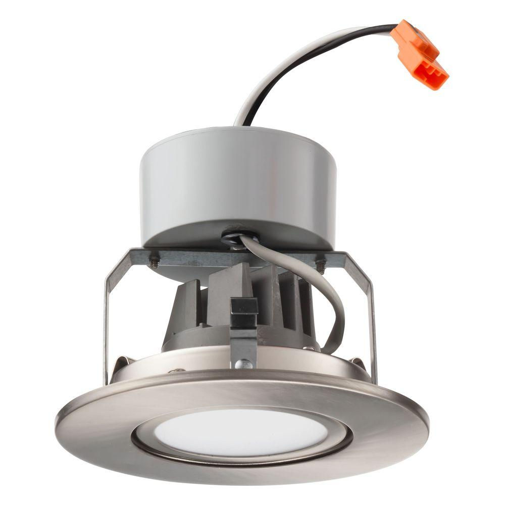 Lithonia Recessed Led Trim: Lithonia Lighting 4 In. Brushed Nickel Recessed Gimbal LED