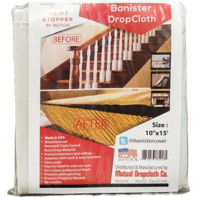 10 in. x 15 ft. White Banister Railing Triple Coated Butyl Drop Cloth