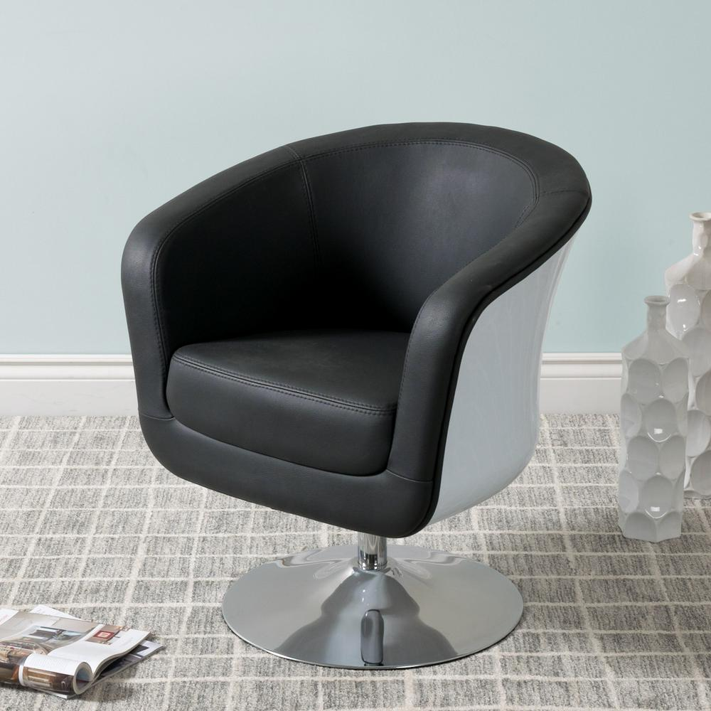 Mod modern black and white bonded leather tub chair