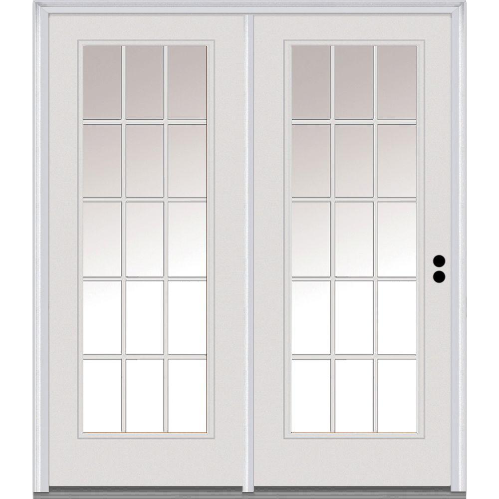 Classic Clear Low-E Glass Fiberglass Smooth Prehung Left-Hand Inswing 15 Lite GBG Patio Door