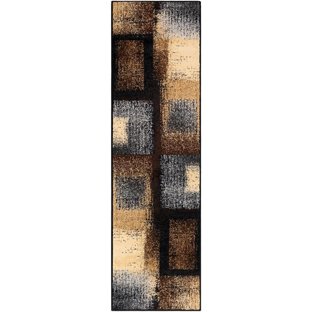 Sora Dark Brown 2 ft. 2 in. x 7 ft. 6 in. Geometric Runner Rug