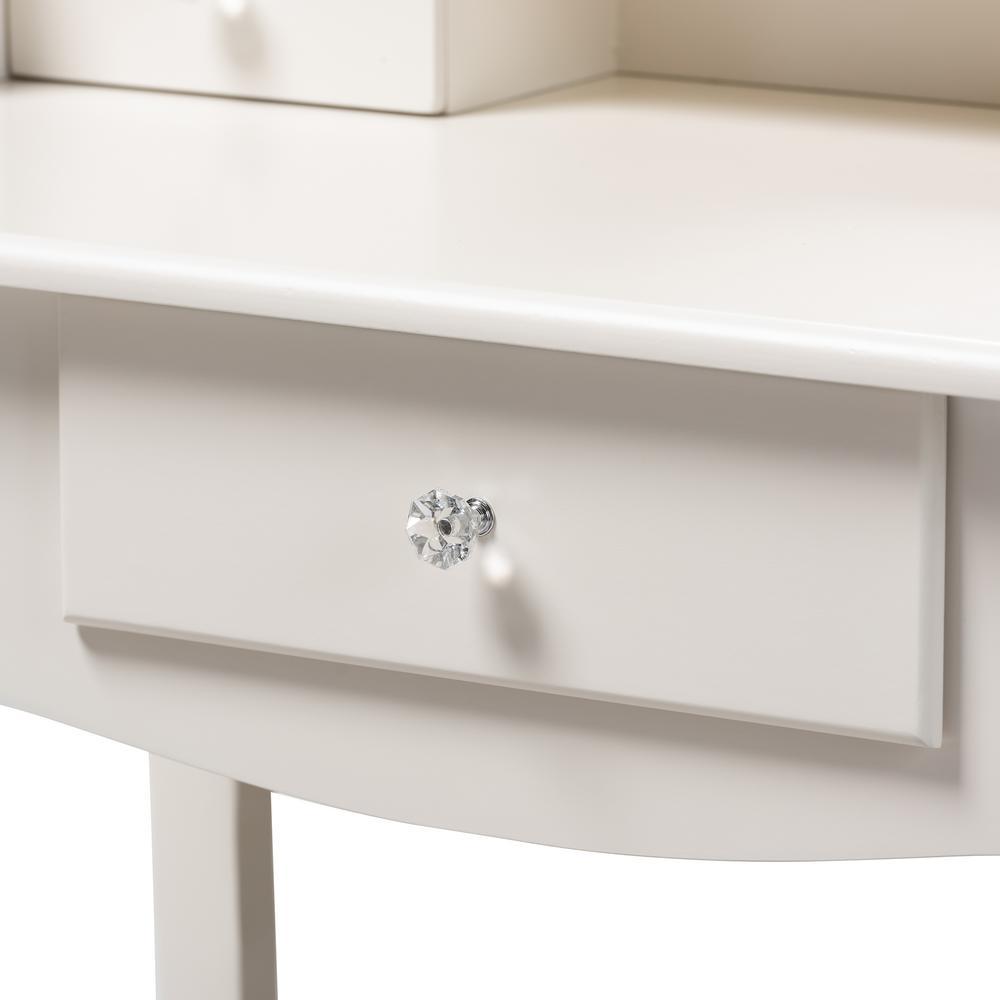 Baxton Studio Veronique 2-Piece White Bedroom Vanity Set 151 ...