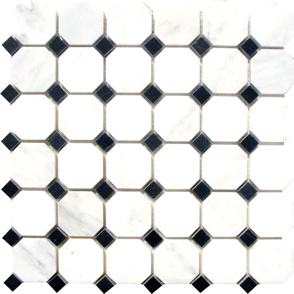 MS International Greecian White Octagon 12 in. x 12 in. x 10 mm ...