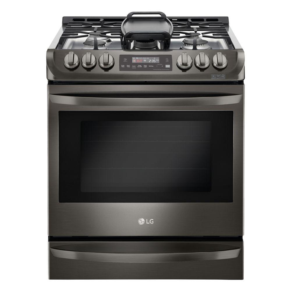 LG Electronics 6.3 cu. ft. Slide-In Gas Range with ProBake Convection Oven in Black Stainless Steel