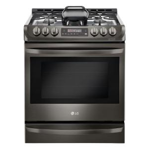 6.3 cu. ft. Slide-In Gas Range with ProBake Convection Oven in Black Stainless Steel