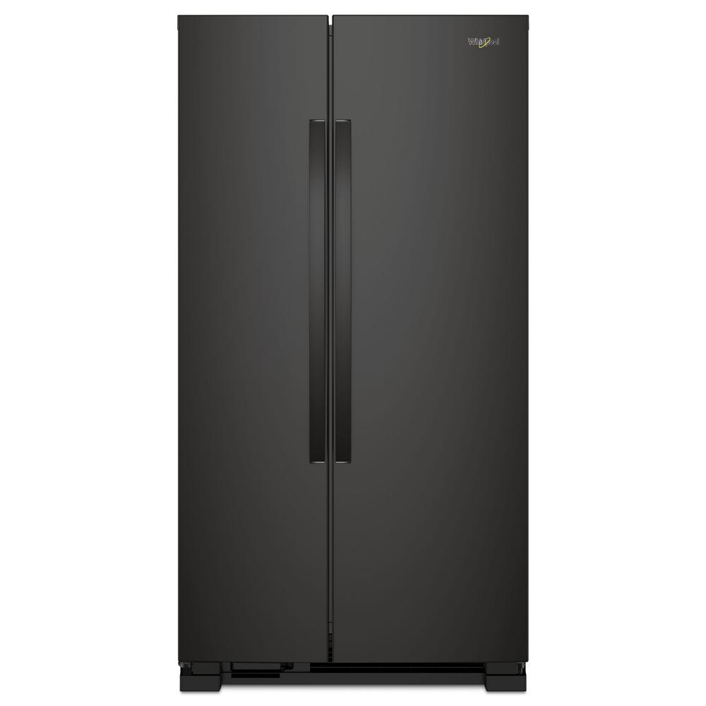 Whirlpool 22 cu ft side by side refrigerator in black wrs312snhb the home depot - Whirlpool side by side ...
