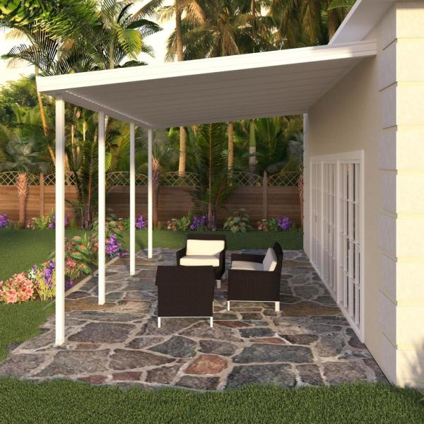 Integra 20 Ft X 12 Ft White Aluminum Attached Solid Patio Cover With 4 Posts 10 Lbs Live Load 1251006701220 The Home Depot