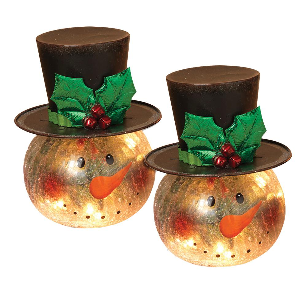 Gerson 8 in. H Electric Lighted Crackle Glass Snowman (Pack of 2)