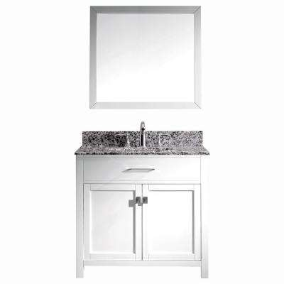 Caroline Madison 36 in. W x 22 in. D Bath Vanity in White with Granite White Vanity Top and Round Sink with Mirror