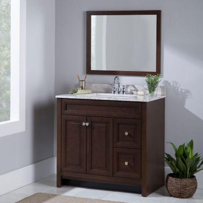 Brinkhill 37 in. W x 39 in. H x 22 in. D Bathroom Vanity in Cognac with Stone Effects Vanity Top in Winter Mist