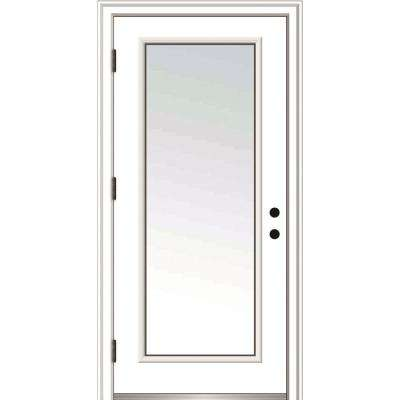 32 in. x 80 in. Classic Right-Hand Outswing Full Lite Clear Low-E Primed Steel Prehung Front Door with Brickmould