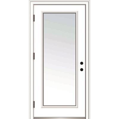 36 in. x 80 in. Severe Weather Right-Hand Low-E Impact Glass Full Lite Clear Primed Fiberglass Prehung Front Door