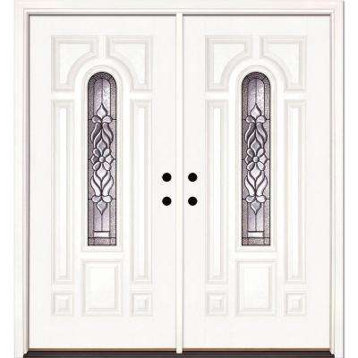 74 in. x 81.625 in. Lakewood Patina Center Arch Lite Unfinished Smooth Right-Hand Fiberglass Double Prehung Front Door