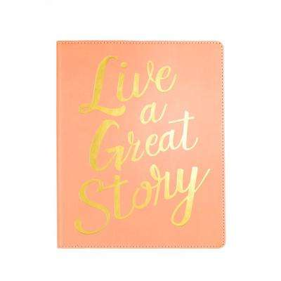 8 in. x 10 in. Desk Size Journal Live A Great Story, Peach
