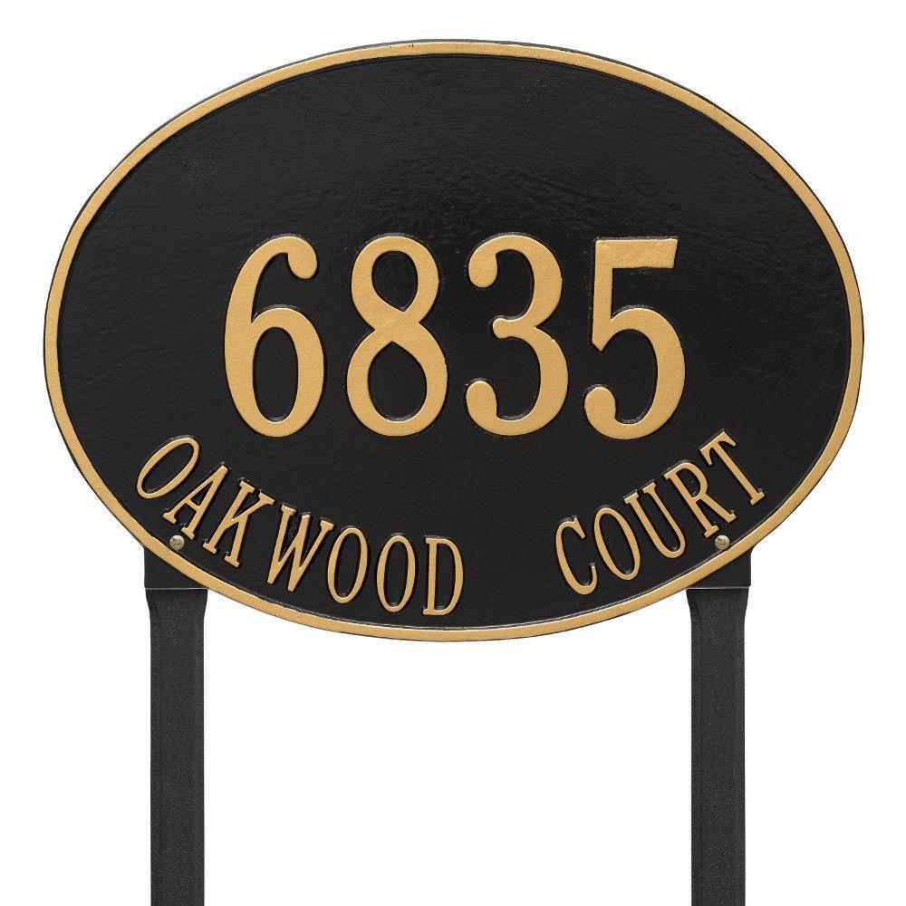 Hawthorne Estate Oval Black/Gold Lawn 2-Line Address Plaque