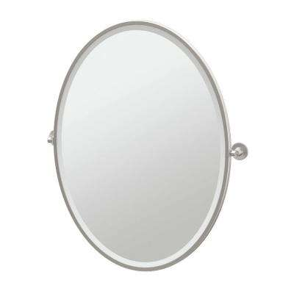 Max 29 in. x 33 in. Framed Single Large Oval Mirror in Satin Nickel