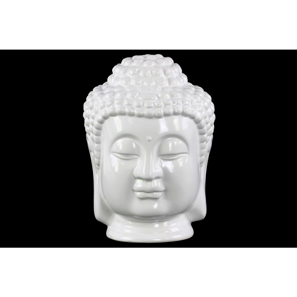 11 in. H Buddha Decorative Sculpture in White Gloss Finish