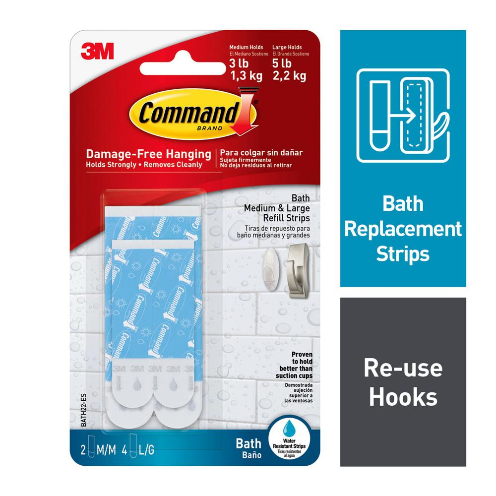 Command Assorted Water Resistant Refill Strips Bath22 Es