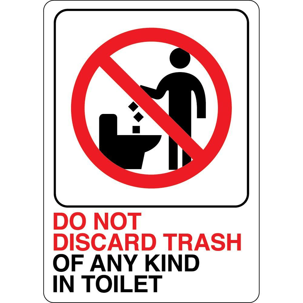 Hy Ko 5 In X 7 In Plastic No Trash In Toilet Sign D 25 The Home