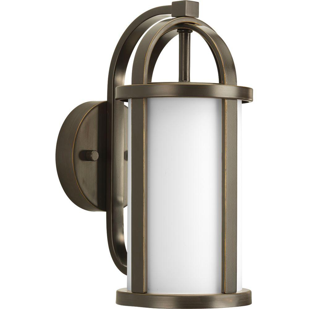 Greetings Collection 1-Light Outdoor Antique Bronze Wall Lantern