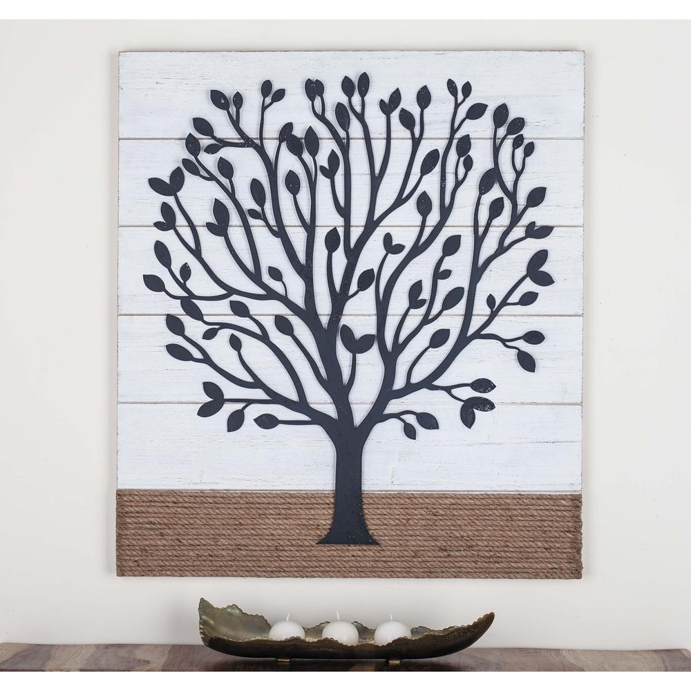 36 in. x 32 in. Tree Art Iron, Wood and Rope