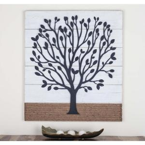 36 In X 32 Tree Art Iron Wood And Rope Wall Decor